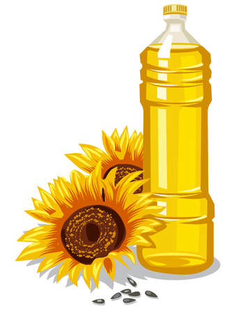 cooking oil: Illustration of raw sunflower oil bottle with seeds