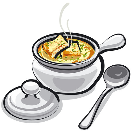 gourmet meal: Illustration of traditional French onion soup with croutons Illustration