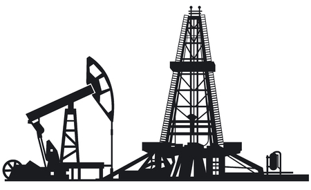 illustration of oil industry drilling derrick silhouettes
