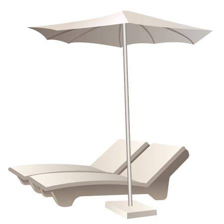 傘で 2 つの快適なサンラウン ジャーのイラスト