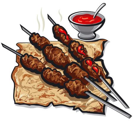 illustration od hot meat kebabs on bread pita with tomato sauce