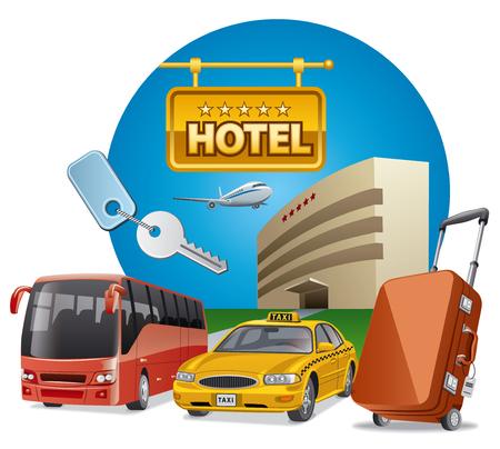 conceptillustratie van hoteldiensten en vervoer Stock Illustratie