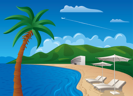 mediterranean: concept illustration of travel and beach resort journey