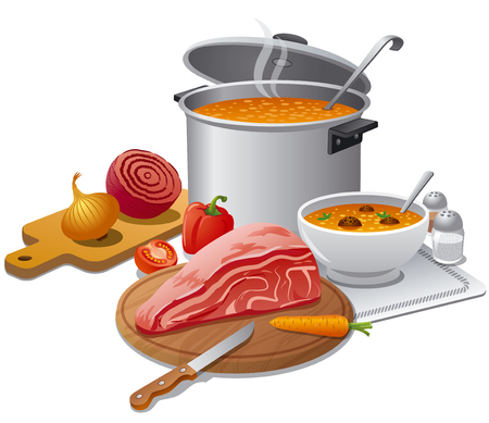 illustration of cooking hot soup with ingredients, meat and vegetables Illustration