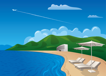 illustration of travel and beach resort journey