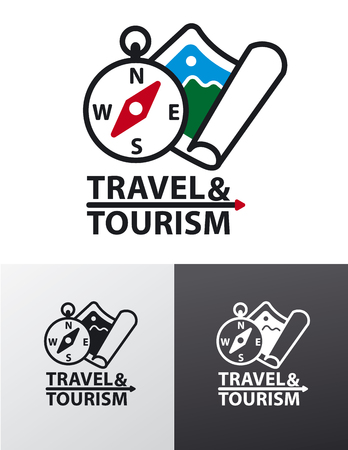 illustration of graphic sign and logo for travel, resort and hiking Illustration