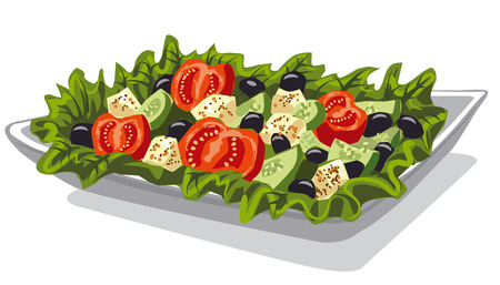 illustration of fresh vegetables salad with tomatoes, lettuce, feta, cucumbers and olives