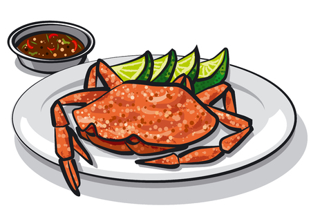 crab meat: illustration of cooked crab on plate with lime and sauce Illustration