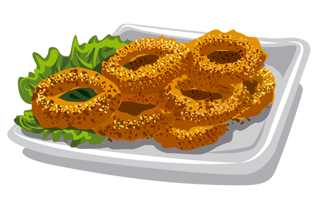 crunchy: illustration of fried squid rings with lettuce on plate