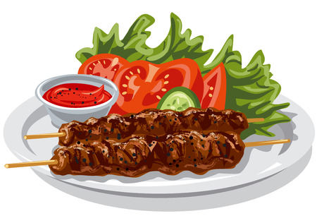 illustration of grilled kebabs with salad and sauce on plate Illustration