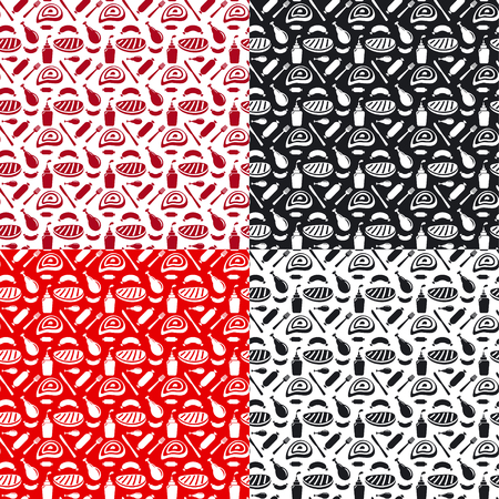 veal sausage: illustration of set of seamless patterns for grill and barbecue in red and black colors Illustration