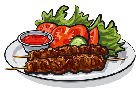 접시에 소스와 샐러드와 뜨거운 구이 케밥의 그림
