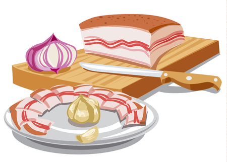illustration of sliced pork lard on wooden board with onion and garlic