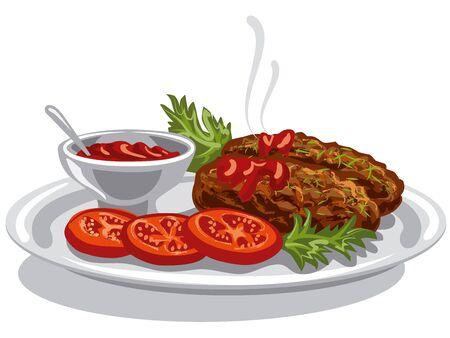 illustratie van hete kotelettenburgers met tomatensaus en tomaten op plaat