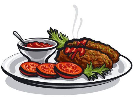 illustratie van hete koteletten met saus en tomaten op plaat