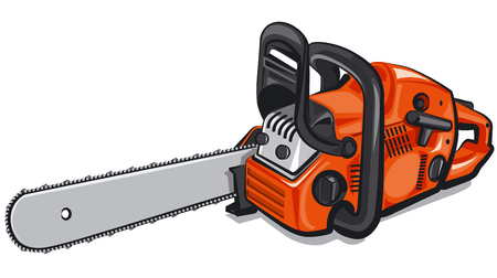 illustration of orange gasoline chain saw
