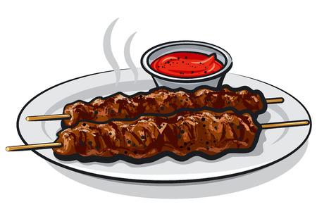 접시에 소스와 함께 뜨거운 구운 된 케밥의 그림 일러스트