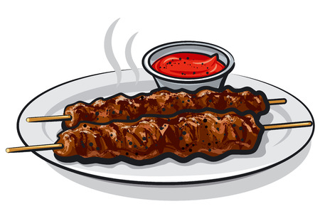 illustration of hot grilled kebabs with sauce on plate