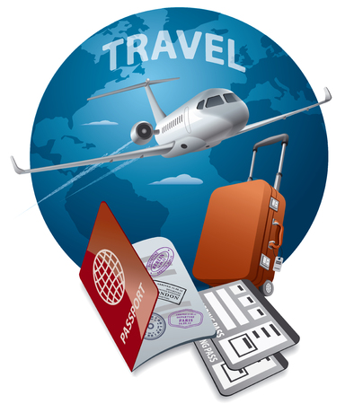 concept illustration of commercial private jet flying around the world, passport and luggage Stok Fotoğraf - 83383733