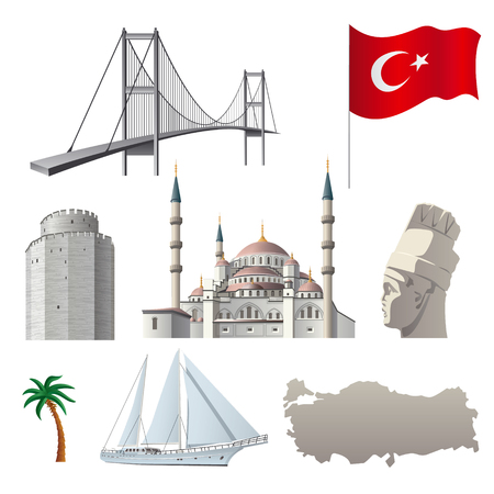 concept illustration of turkish with famous landmarks and flag