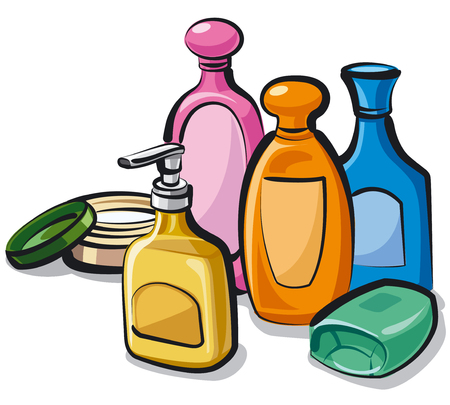 illustration of collection shampoo, soap and cream