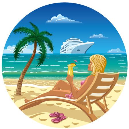 illustration of tan blond girl on the ocean sand beach Illustration