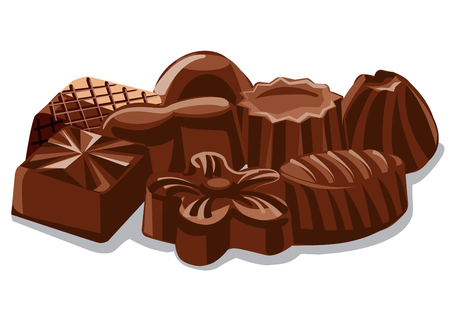illustration of different chocolate sweets and candies