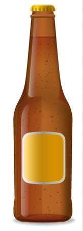 illustration of brown bottle of beer with label Illustration