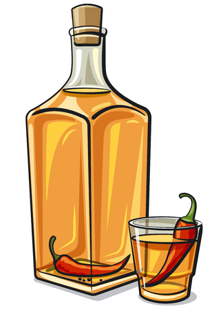 illustration of traditional ukrainian gorilka vodka bottle with chilli