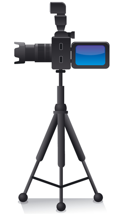 illustration of camera on tripod for photo shooting