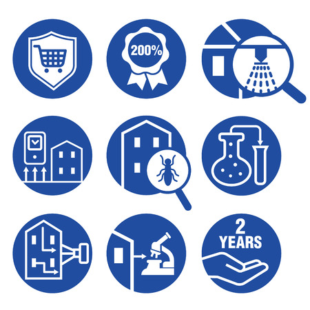 illustration of icons set for Inspecting residential properties