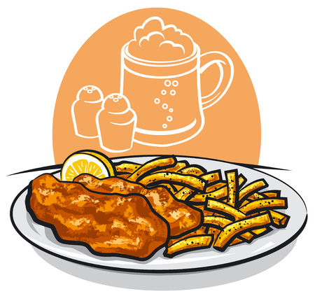 illustration of baked fish and chips with lemon and sauce Illustration