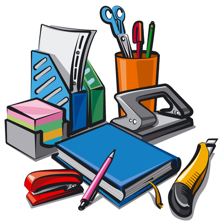 illustration of set stationery for studying and office