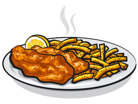 illustration of battered fish and chips with lemon and sauce on plate
