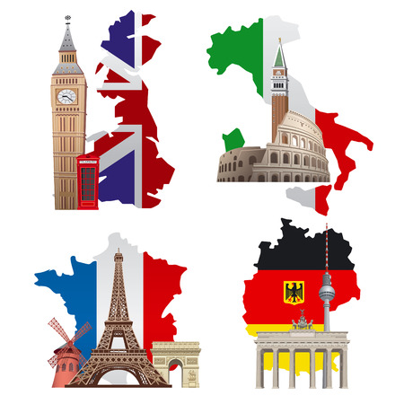 concept illustrations of europe landmarks and maps, france, italy, germany and england 向量圖像