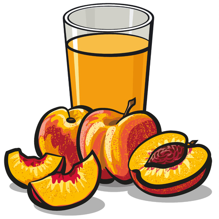 illustration of glass of fresh peaches juice with sliced ripe peaches