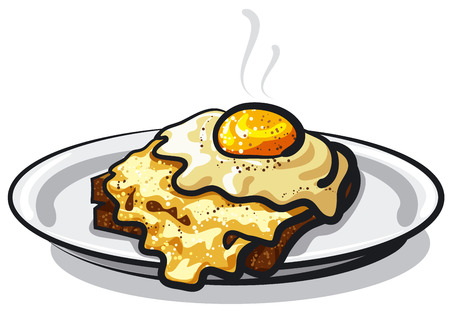 illustration of fried egg with rye bread toast on plate