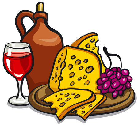 illustration of sliced cheese and grapes on wooden board with red wine