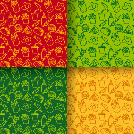 illustration of street food seamless patterns in different clors