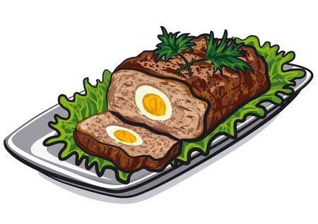 illustratie van bereid vleesbroodje met ei en sla op plaat