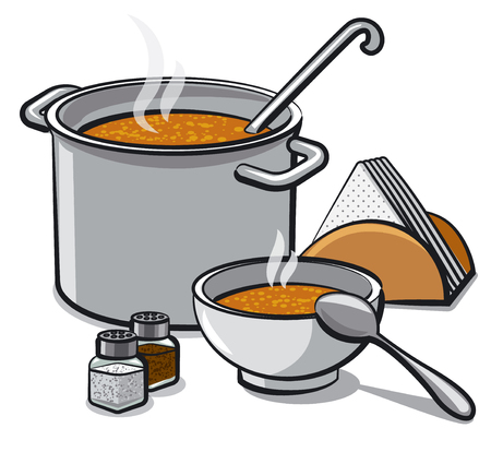 illustration of hot tasty soup in bowl and pot with spices and napkins