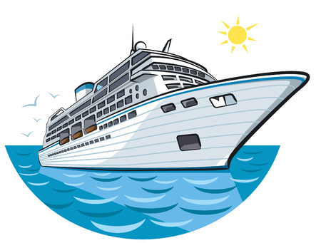 illustration of big ocean liner in sea cruise Çizim