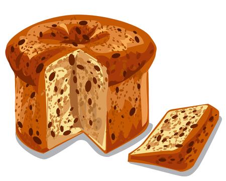 illustratie van gebakken panettone cake met rozijnen
