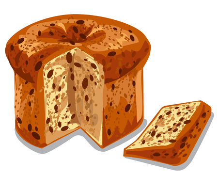 illustration of baked panettone cake with raisins Illustration