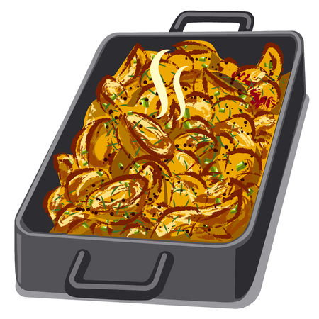 illustration of hot baked roasted potatoes in pan
