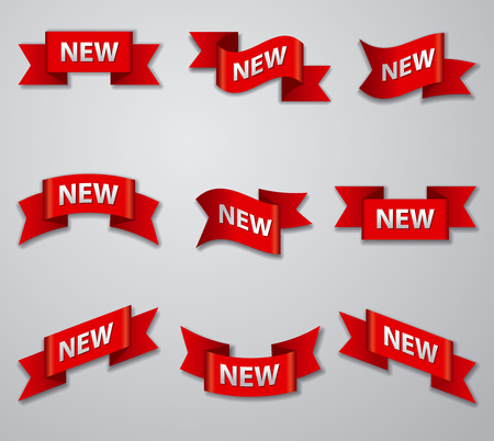 illustration of set of advertising glossy banners and tags for new product