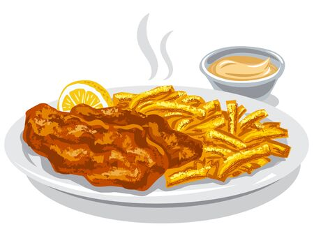 illustration of fried fish and chips with lemon and sauce Çizim