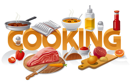 Concept illustration of cooking food with different meals Ilustracja