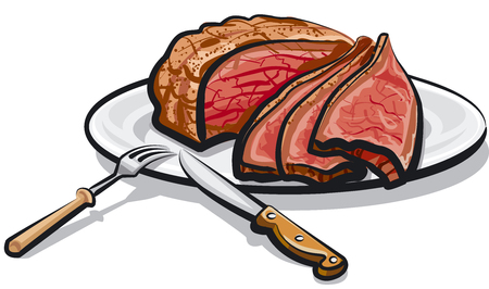 Illustration of cooked roast beef meat on plate 版權商用圖片 - 87862309