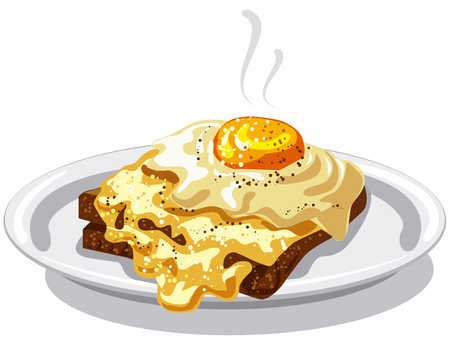 Illustration of hot fried eggs with bread toast on plate